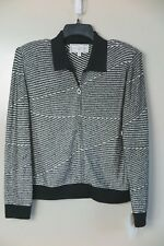 NWT St. John Sport Black White Wool Blend Full Zip Jacket Size M MSRP $495
