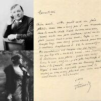 🌓 MAURICE DE FERAUDY belle lettre à sa camarade BERTHE CERNY Comédie Française