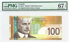 ✪ 2003 $100 Bank of Canada BC-66aA PMG Gem UNC 67 EPQ BKE Insert Replacement