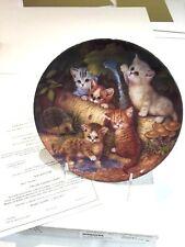 """22K02 3.7 Artist Jurgen Scholz -On Garden Path Kitten Expeditions 8"""" Plate"""