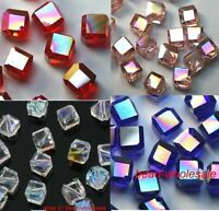 20pcs AB Color Glass Cube Square Shaped Loose Spacer Beads 6mm Fir Jewelry DIY