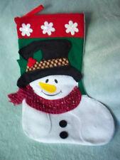 Christmas Stocking, Snowman, heavy-weight felt, sewn