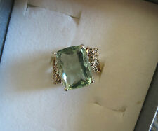 Flawless 11.97 carat Rare Blue green Aquamarine & Diamond 14k yellow gold ring 7