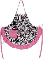 Zebra Apron Pink Full Length Smock Embroidery Rhinestone Option