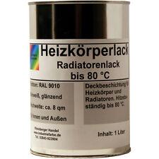 Heizkörperlack, Heizungslack, Radiatoren Lack, weiß, bis 80 °C, 1 Liter Inhalt