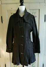 Womens Size 8 Brown Tweed Steampunk Punk Goth Button Front Pleated Jacket Coat