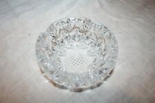 "Beautiful Vintage 5"" Heavy Clear Lead Crystal Ashtray ~ Etched"