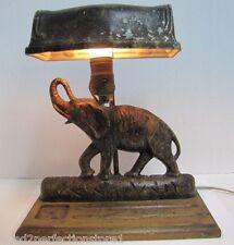 Antique Art Deco Cast Iron Elephant Doorstop Lamp rare old figural desk dresser