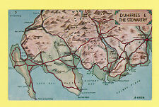 MAP  -  J. B. WHITE  POSTCARD SIZED CARD - DUMFRIES & THE STEWARTRY  -  1970's