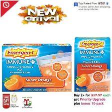 Emergen-C Immune Plus 1000mg Vitamin C, D + Zinc 30 packs, Flavor: Super Orange