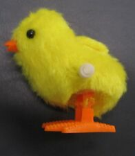 Yellow Wind Up Fuzzy Chick Toy Hops Works Fine 3.5 inches tall