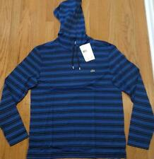 Mens Authentic Lacoste Striped Lightweight Hoodie/Hooded T-Shirt Blue 6 XL $98