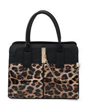 Women Leopard Print Gold Chain Clip Large Tote Hobo Handbag Shoulder Shopper Bag