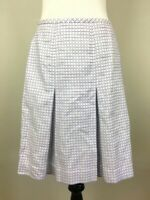 Ann Taylor Loft Skirt Size 2 White Purple Pleated A Cotton Lined Skater