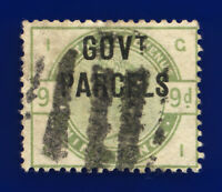 1883 SGo63 9d Dull Green Govt Parcels L20 GI Good Used Cat £1200 cxaz