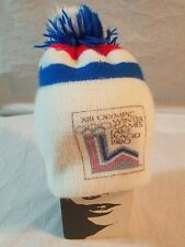 Vintage 1980 Lake Placid Olympic Winter Games Pom Pom Beanie Stocking Hat #A