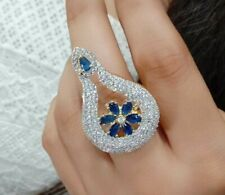 Indian Arrow Cocktail AD Ring Jewelry Gold Tone Stone Blue Designer Fashion Love