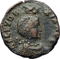 EUDOXIA Arcadius Wife 401AD Authentic Ancient Roman Coin VICTORY CHI-RHO i70394