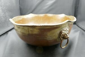 Antique French Copper Planter Bowl Rope Edging Lion Mask Ring Handles 1920s/30s