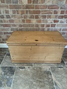 Old Antique PINE CHEST, Wooden Blanket TRUNK Coffee Table  Storage BOX
