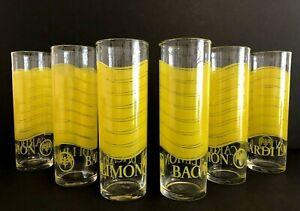 "Vintage Set Of 6 Bacardi Limon Highball Collins Glasses With Bat Logo 7"" Tall"