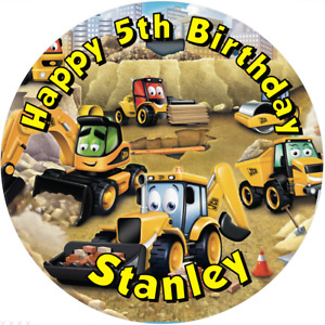 """JCB Digger, 7.5"""" , 2"""" , 1.5"""" ROUND EDIBLE ICING PRINTED CAKE TOPPER"""