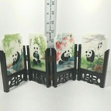 Vtg Art Chinese Divider 2 Sider Panda & Great Wall 4 Panel Handcraft Paints 2008