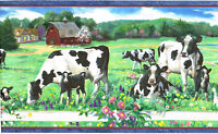 Black White Dairy Cows Calf Pasture Country Farm Barn Meadow Wall paper Border
