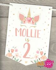Personalised Unicorn Birthday Party Banner Bunting flags Rose & Gold 1st 2nd 3rd