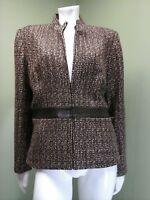 Spenser Jeremy Women's Brown Tweed Jacket W/ Leather Band~Size L