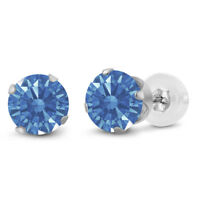10K White Gold Stud Earrings Round 6mm Made With Fancy Blue Swarovski Zirconia
