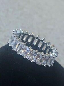 14 Carat Emerald Cut Diamond Platinum Eternity Band Ring - Quartz Stone Titanium