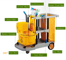 More details for multi-function cleaning trolley hotel linen cart laundry housekeeping tool car