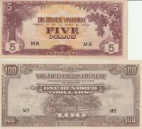 Vintage Malaya 5 & 100 Dollars Banknotes WWII Japanese Occupation Currency