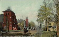 Old Postcard - Main Street With Universalist & Catholic Churches - Amesbury Mass