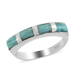 Santa Fe Style 925 Sterling Silver Turquoise Band Ring Southwest Jewelry Ct 1