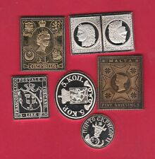 Six European Silver Stamp Ingots In Near Mint Condition