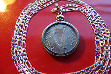 """1934 IRELAND IRISH Lucky Sixpence Coin Pendant on a 28"""" 925 Silver Chain,"""