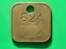 Early Cresswell colliery two sided brass pit check coal mining lamp token
