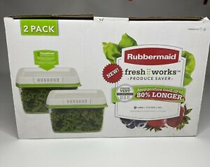2 Pack Rubbermaid Fresh Works Produce Saver New And In Box Large 17.3 Cups