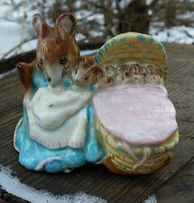 "Beatrix Potter Figure ""Hunca Munca"" Mother Mouse & Baby Mice Beswick England"