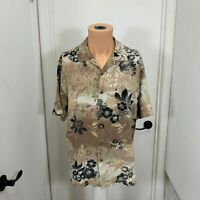 Paradise Blue large Silk Hawaiian Shirt  Floral Button