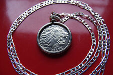 """Handsome Classic Roaring Lion Coin Pendant on a 30"""" 925 Silver Snake Chain"""