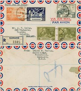 BARBADOS 1949 UPU FIRST DAY COVER R.L.O POSTMARK REGISTERED to NZ