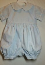 Boys 100% Cotton BLUE One Piece Shortall Sz 6 Mos Lined Romper VGUC