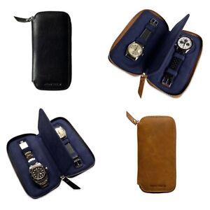 Slim Jim Genuine Leather Zip Two Watch Travel Storage Pouch Case