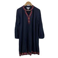 David Jones Womens Shift Dress Size 12 Navy Boho Embroidered Long Sleeve