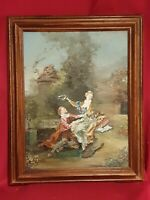 Ancienne peinture romantique signée