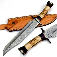 Handmade Damascus Steel 15 Inches Bowie Knife – Elk Deer Horn Handle,With Sheath