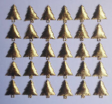 30 Gold Padded Fabric Christmas Trees